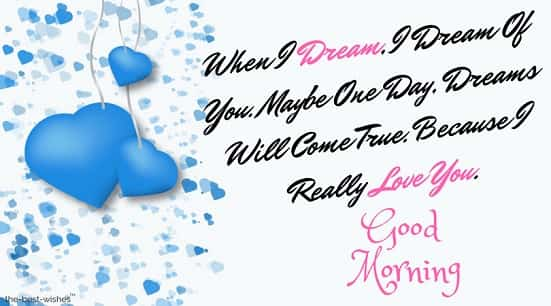 good morning with blue heart msg