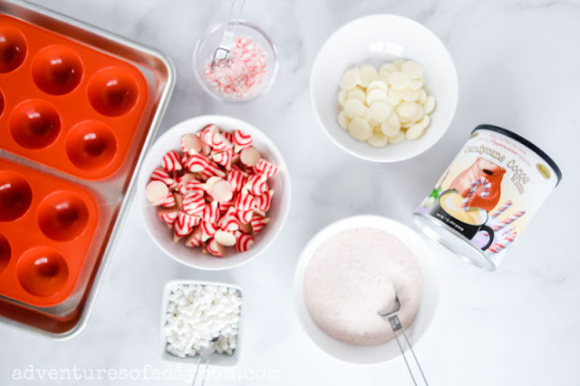 ingredients for candy cane kiss hot chocolate bombs