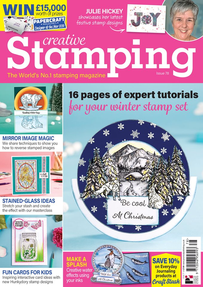 Delighted to see my first commission in print.. My snowy cabin card made the front cover