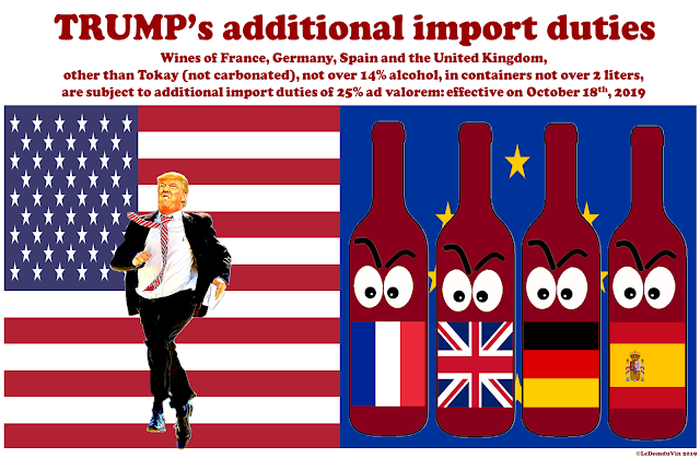 Trump 25% additional duties on wines from  France, Germany, Spain and UK by ©LeDomduVin 2019