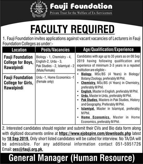 Advertisement for Fauji Foundation Jobs in September 2019