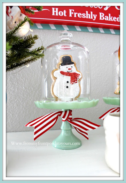 Breakfast- Nook- Christmas -Decor-Jadeite-Cupcake-Stands-Pioneer-Woman-Gingerbread-Cookies-Faux-Cottage-Farmhouse-Vignettes-From My Front Porch To Yours
