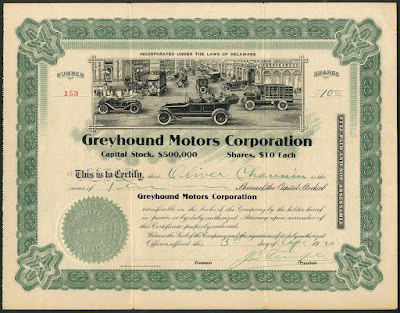 Greyhound Motors Corporation share certificate with large vignette of early automobiles