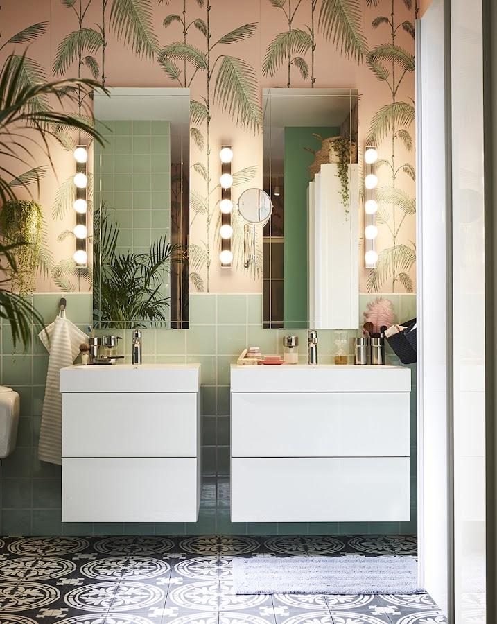 Nuevo catálogo IKEA 2020. Baño con suelo tipo hidráulico