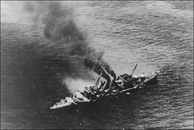 "HMS Cornwall sinking after being attacked by Japanese D3A1 ""Val"" dive-bombers on 5 April 1942. Worldwartwo.filminspector.com"