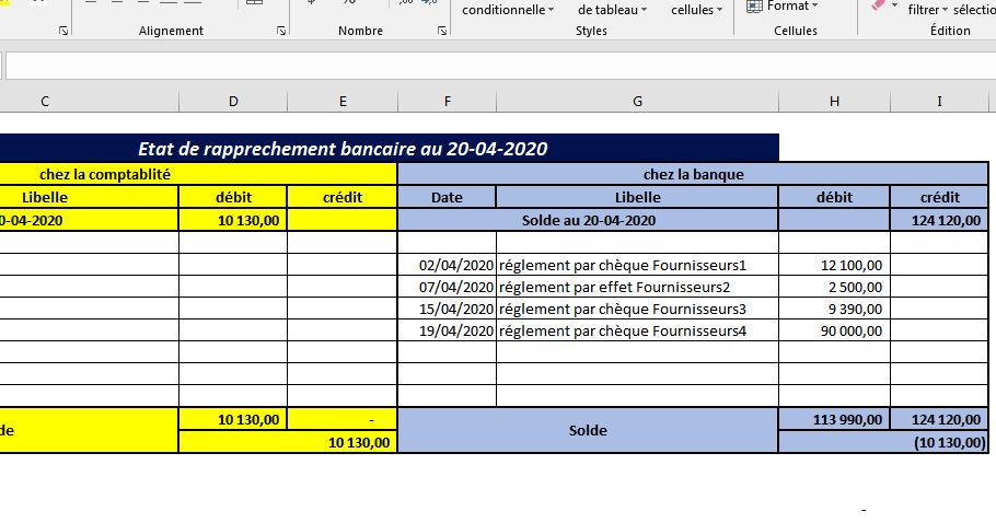 Etat De Rapprochement Bancaire Excel