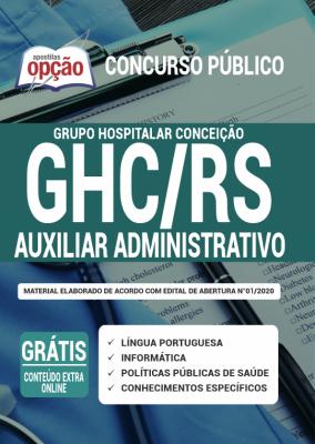 A Apostila GHC-RS 2020 PDF - Auxiliar Administrativo foi elaborada de acordo com o Edital 001/2020 do concurso, por professores especializados em cada matéria e com larga experiência em concursos.