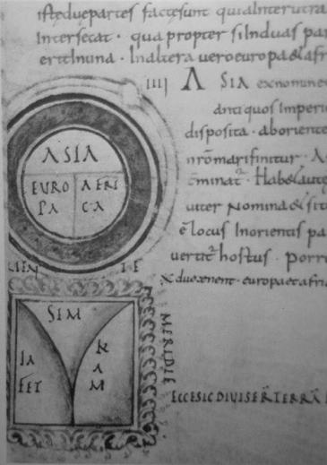 """Peta model """"T-O-V"""" dari abad 12 AD dari buku Etymologiarum karya Isidore. (Sumber: James S Aber Slide #205T) Huruf """"T"""" sebelan kanan berubah. Sebelah kirimenggambarkan pembagian cuaca(Sumber: James S Aber Slide # 205II)"""
