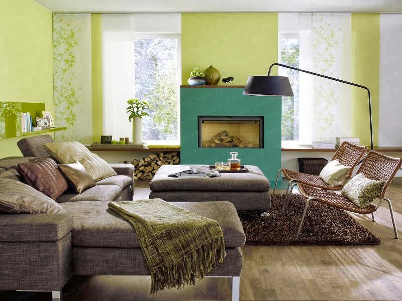 sala verde con marrón