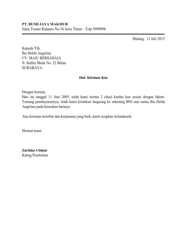 Contoh Surat Bentuk Semi Block Style
