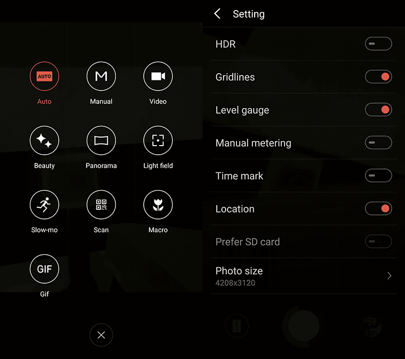 Camera modes and settings