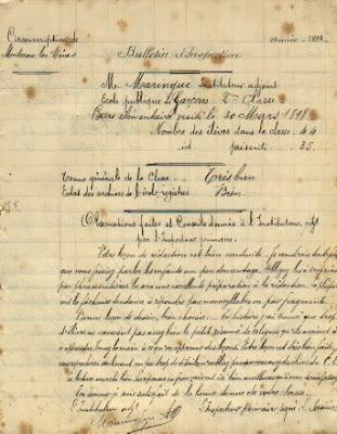 Rapport d'inspection de M. Maringue, Directeur d'école à Saint-Vallier, 71 (collection musée)