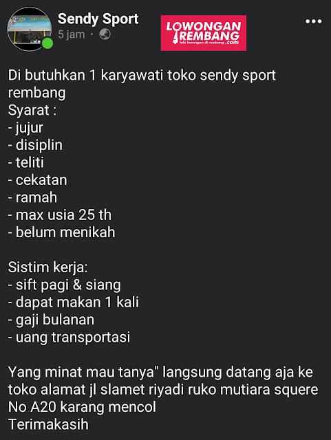 Lowongan Kerja Karyawati Toko Sendy Sport Rembang