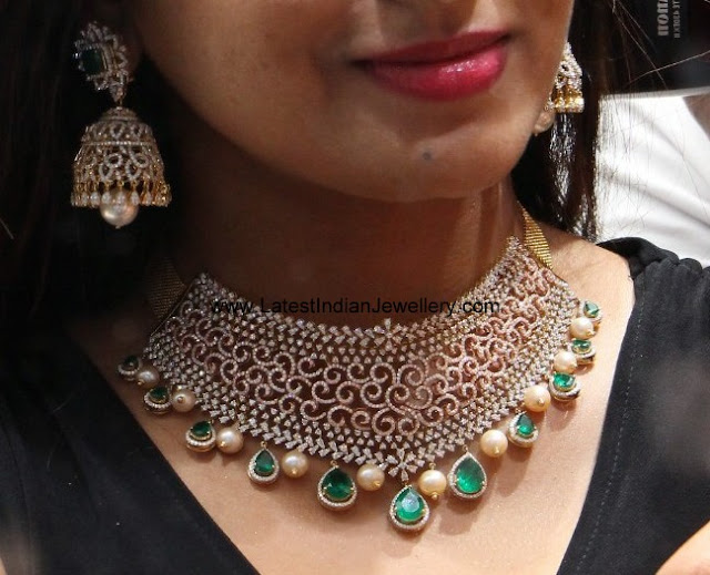 Manepally Diamond Choker Jhumka