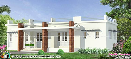 Flat roof single floor home in Kerala
