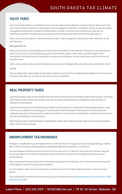 south dakota tax climate - municipal sales tax, use tax, real property tax, unemployment tax / insurance