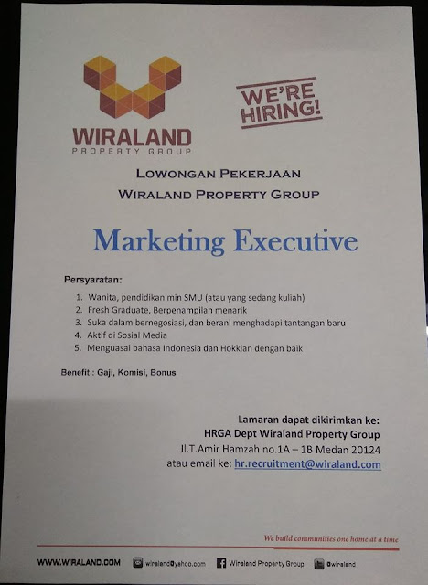 Loker Medan Lulusan SMA SMK Marketing Executive Desember 2019 PT Wiraland Property