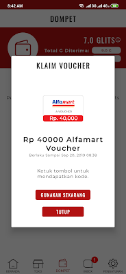 Voucher Alfamart dari Aplikasi Gluu Android