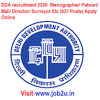 DDA recruitment 2020, Stenographer, Patwari, Mali, Director, Surveyor