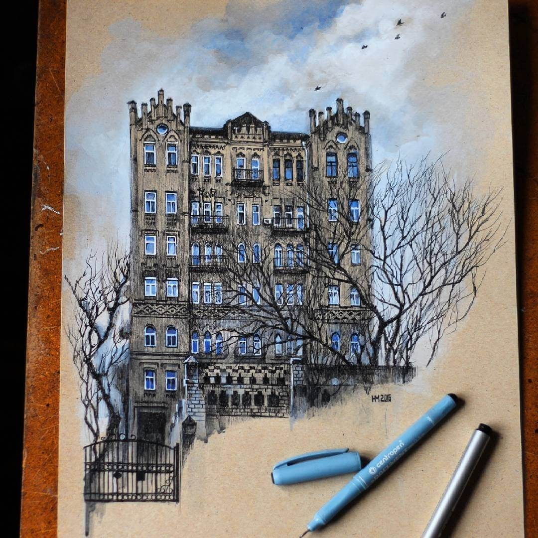 08-The-Castle-Martha-Nyrkova-Urban-Sketching-Drawings-and-Paintings-www-designstack-co
