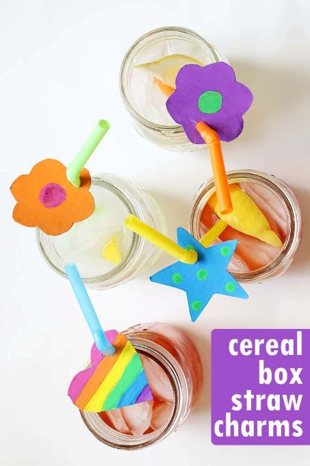 These straw charms work great on paper and reuseable straws too easy craft for kids