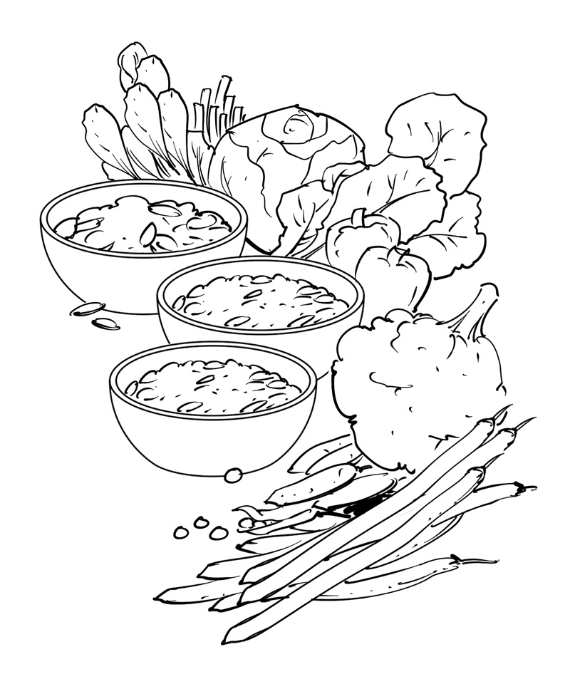 natural diet health and nurition book illustration