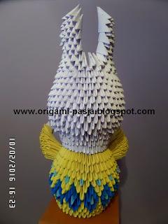Zajączek wielkanocny - origami modułowe.
