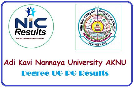 Adikavi Nannaya University AKNU Degree UG PG Examination Results