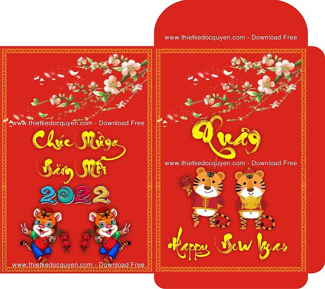 Bao Lì xì tết năm con hổ Vàng miễn phí