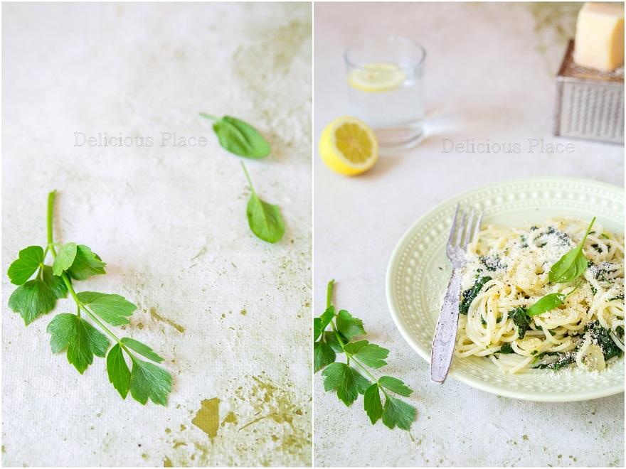 Spaghetti ze szpinakiem i lubczykiem