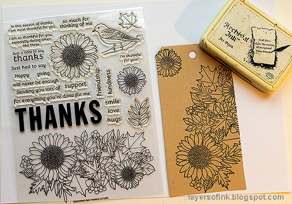 Layers of ink - Leaves on Kraft Tutorial by Anna-Karin Evaldsson. Stamp with SSS Big Thanks.