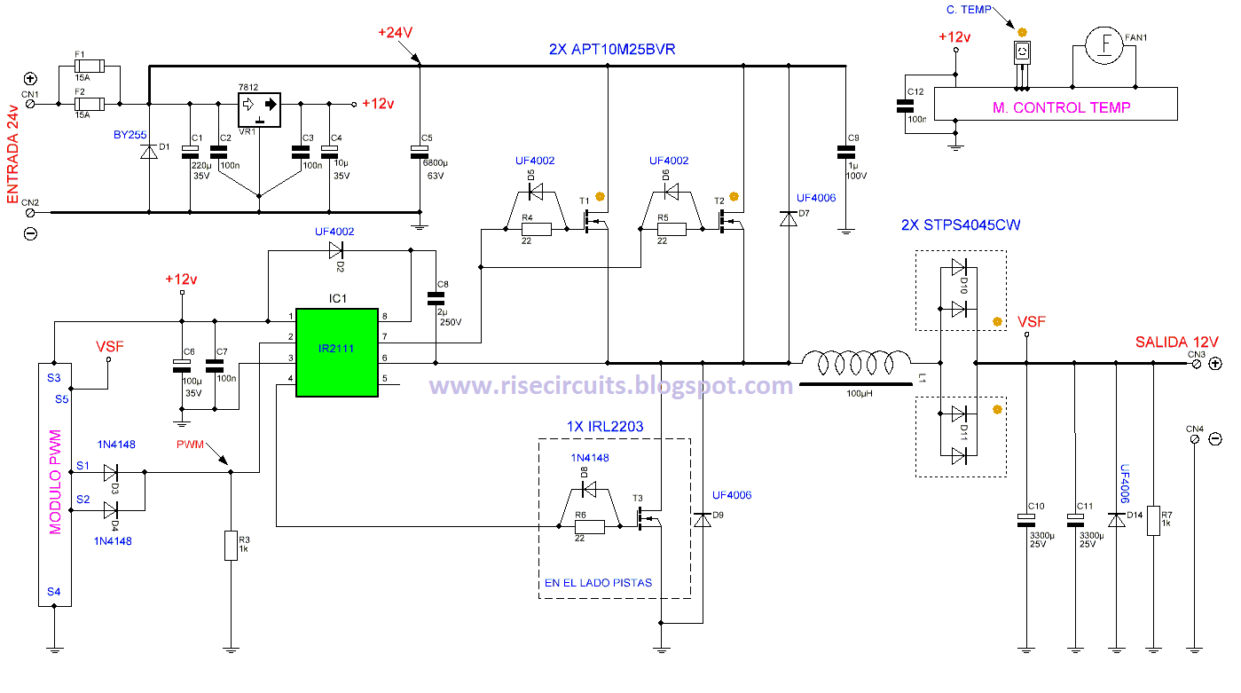 24v To 12v 400w Dc Inverter Circuit