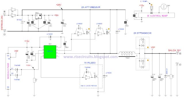 24V to 12V 400W DC Inverter Circuit - Wiring Diagram guide Dc Inverter Wiring Diagram on