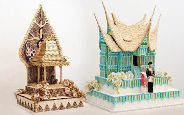 Kue Pengantin Unik Bentuk Rumah Adat