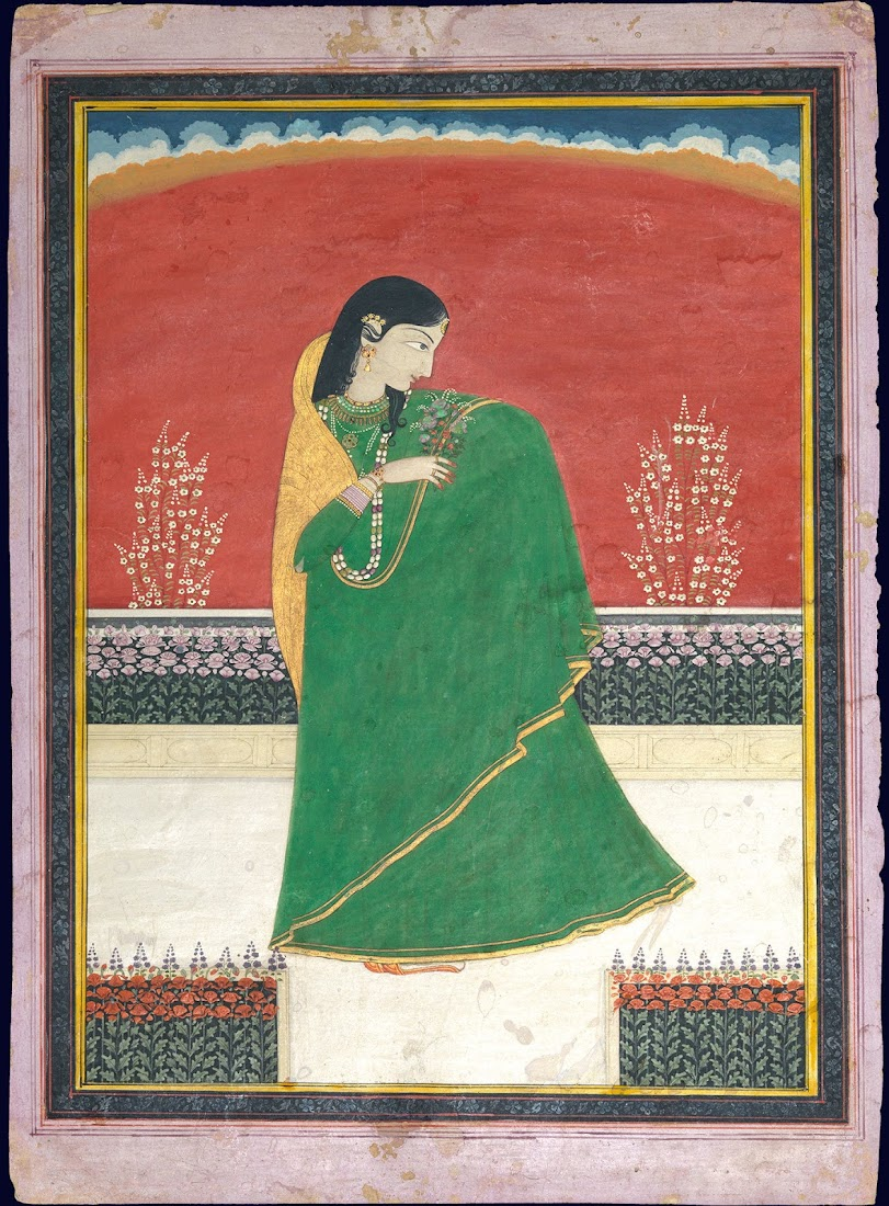 Girl with a bouquet of flowers - Pahari Painting, c. 1820-30