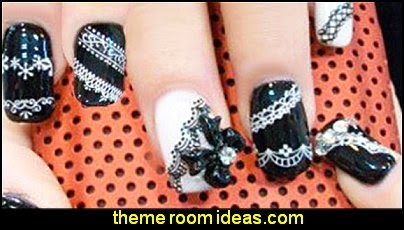 French White Lace Flower Nail Art Sticker Decal Nail Stickers Nail Art Decoration