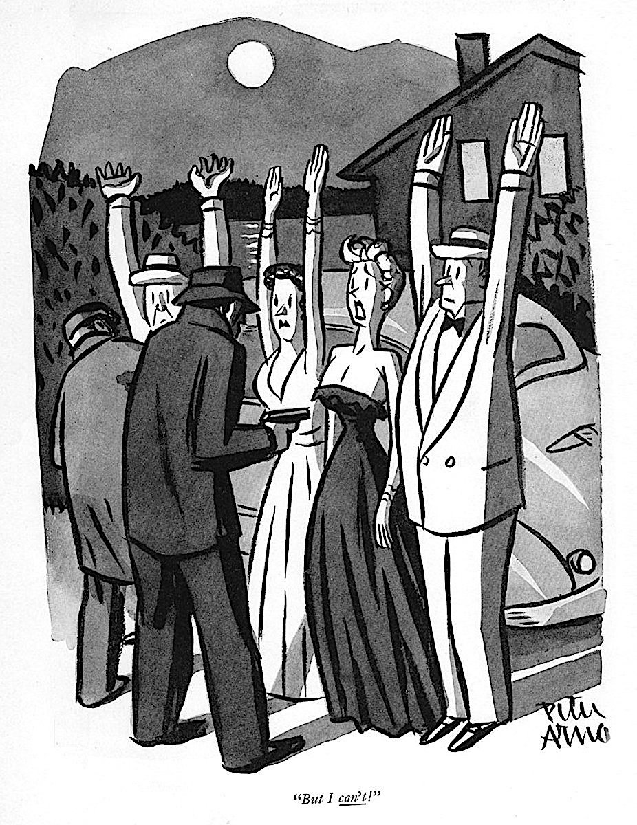 a cartoon by Peter Arno about a woman's strapless dress