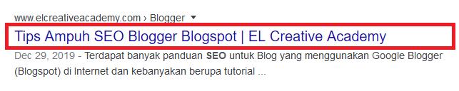 Title Tag pada hasil pencarian Google.
