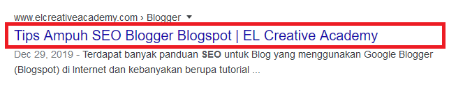 Title Tag in Google search results.