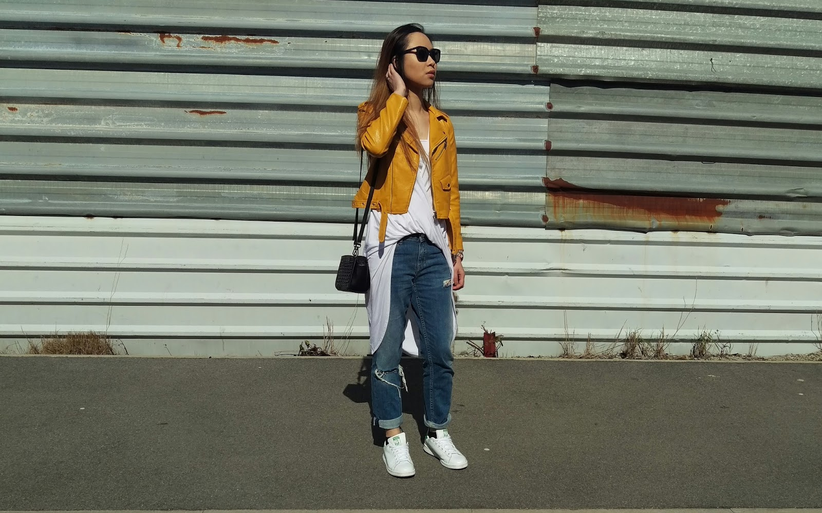 Leather jacket yellow zara - Zara Jacket Missguided Wrap Top Asos Jeans Adidas Stan Smith Quay Australia Sunglasses