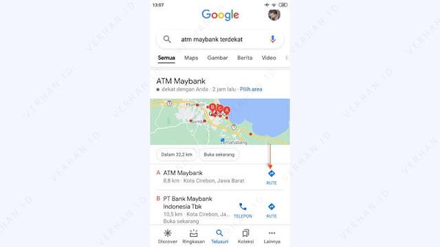 lihat rute menuju lokasi atm maybank