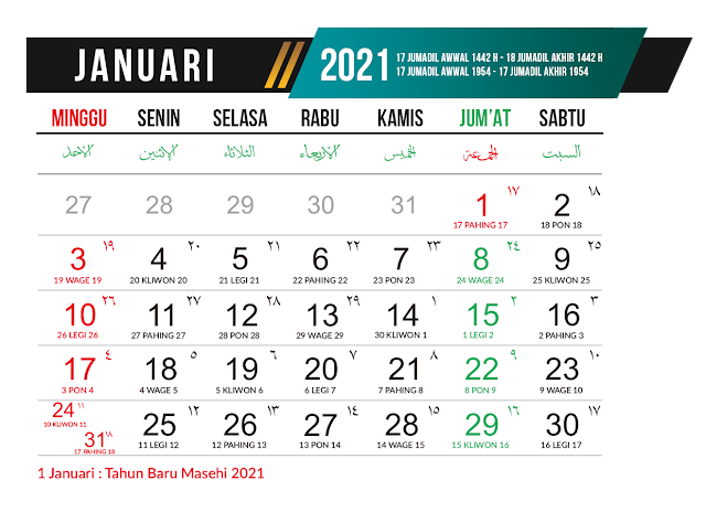 Preview Desain Template Kalender Bulan Januari