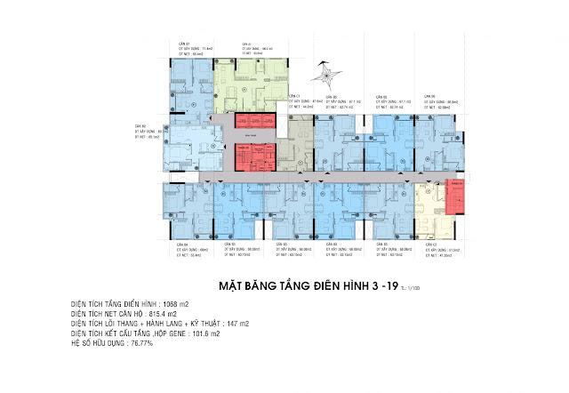 Mặt bằng tầng căn hộ Carillon 5 (tầng căn hộ từ tầng 3 đến tầng 19)