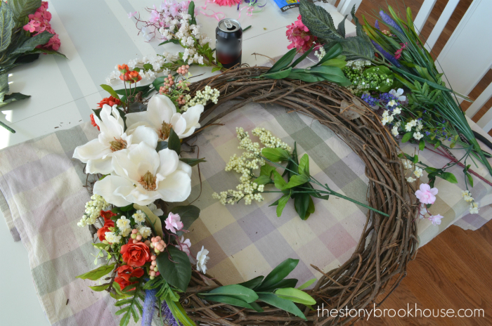 Spring wreath progress