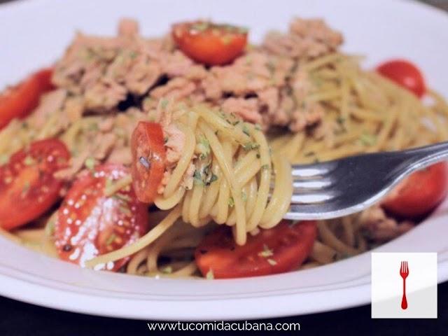 Espagueti con Atún - Receta cubana