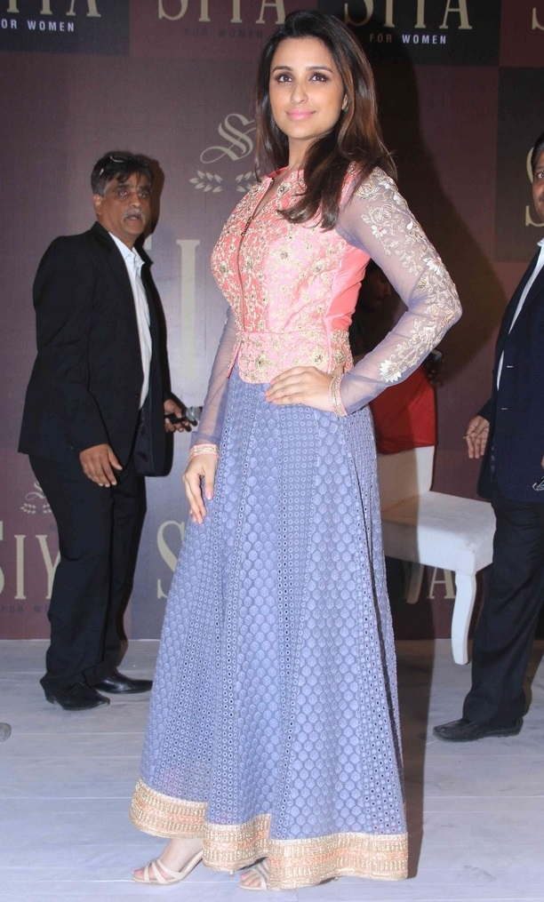 Beautiful Hindi Girl Parineeti Chopra Long Hair Stills In Pink Dress