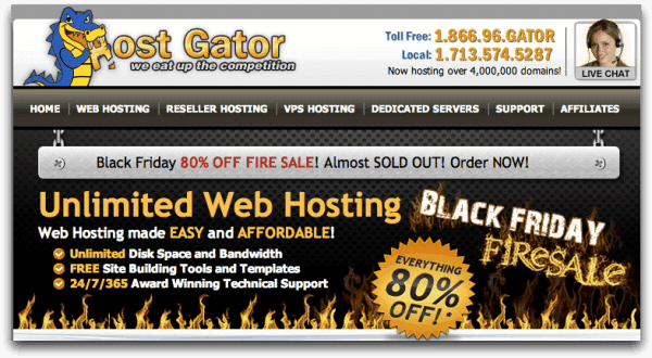 HostGator Black Friday Sale 2016: 80% discount on HostGator