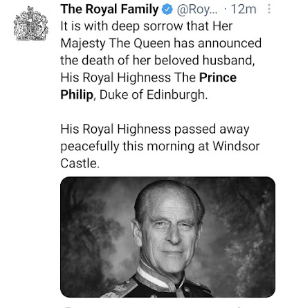 090421 Death of Prince Philip official announcement by the royal family social media