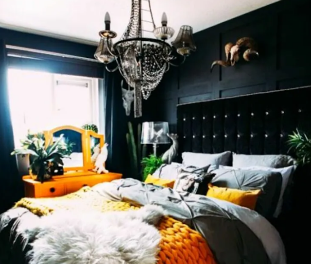 16. Black and Orange Gothic bed room