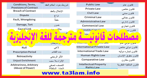 مصطلحات قانونية مترجمة للغة الإنجليزية